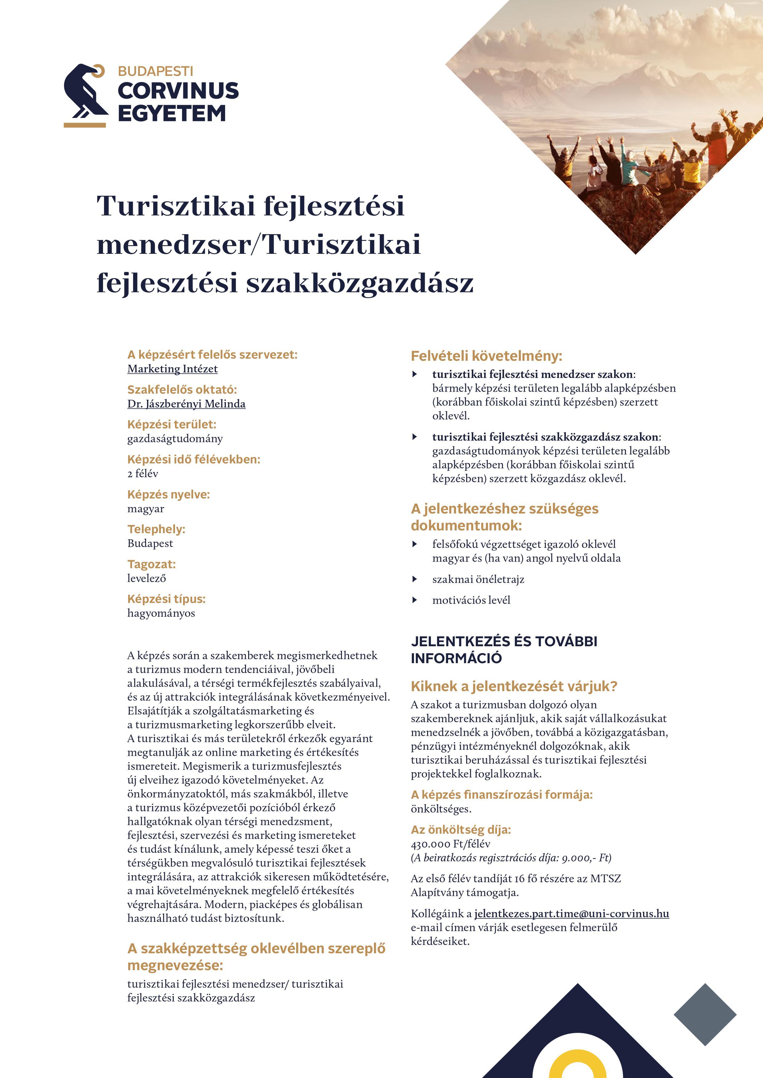 Turisztikai fejlesztési menedzser - Corvinus
